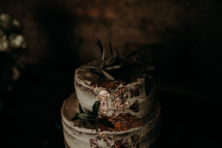Semi Naked Cake with Gold Leaf Decor | Stylish Outdoor Wedding at The Oaks Estate, Greyton, South Africa | Fiona Clair Photography | Ebert Steyn Films