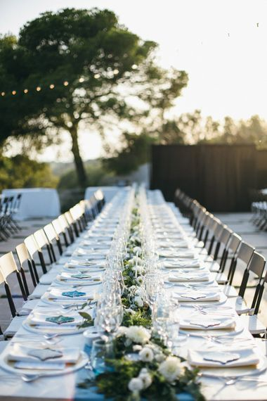 Rustic Table Scape with White & Greenery Floral Table Runners