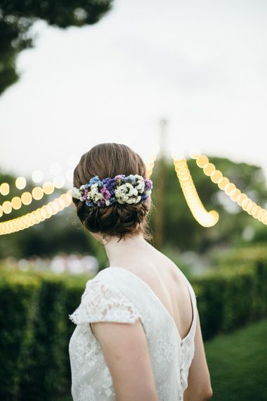 Chic Bridal Up Do with Floral Headpiece