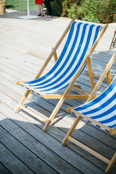 Blue & White Stripe Deckchairs
