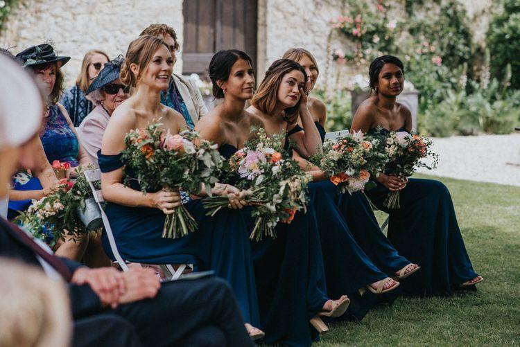 Bridesmaids in Navy Jarlo Dresses & Organic Bouquets