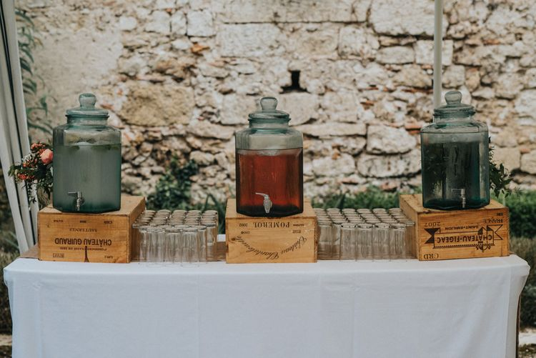 Drink Dispensers on Rustic Crates