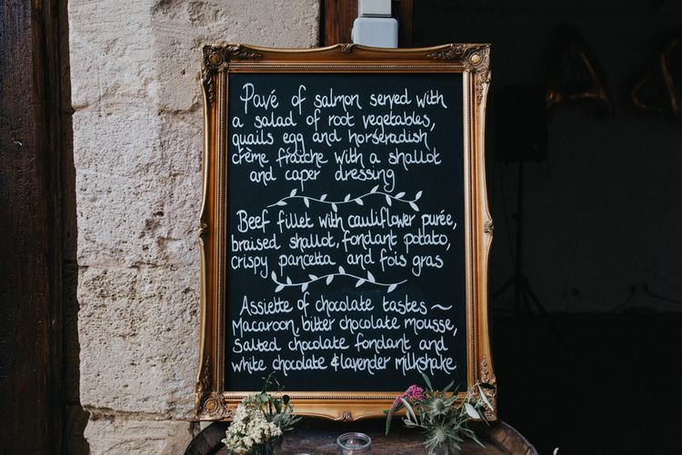Chalkboard Wedding Menu Sign