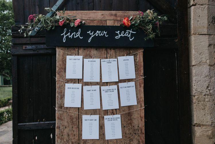 Rustic Table Plan