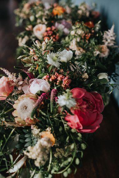 Organic Peach & Coral Wedding Flowers