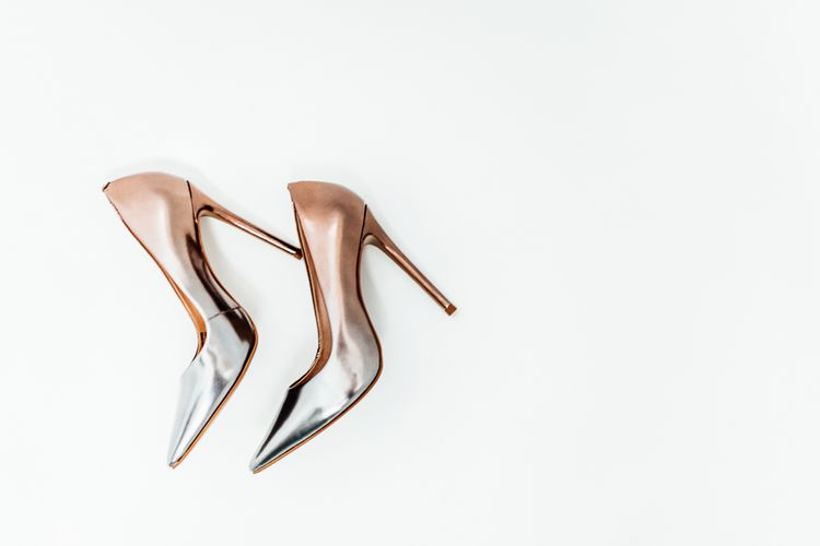 Metallic Wedding Shoes // Vintage Inspired Wedding With 20s & 30s Influences In London At Shoreditch Studios With Images From Beatrici Photography And Styling By The Barnables