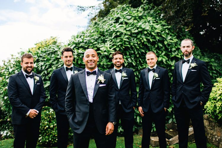Groomsmen In Black Tie | St Donat's Castle Wedding With Pink & Gold Colour Scheme | Images by Steve Gerrard Photography