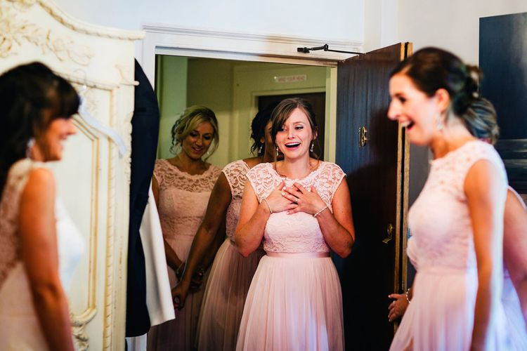 Bridesmaids In Pink | St Donat's Castle Wedding With Pink & Gold Colour Scheme | Images by Steve Gerrard Photography