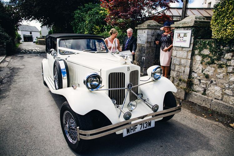 Vintage Wedding Car | St Donat's Castle Wedding With Pink & Gold Colour Scheme | Images by Steve Gerrard Photography
