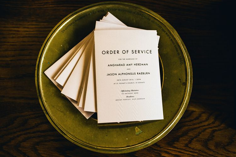 Order Of Service For Wedding By E.Y.I. Love | St Donat's Castle Wedding With Pink & Gold Colour Scheme | Images by Steve Gerrard Photography
