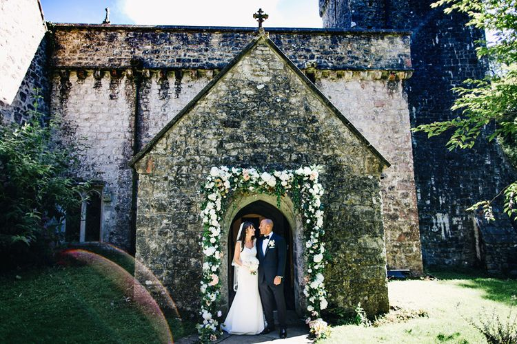 Floral Arch | St Donat's Castle Wedding With Pink & Gold Colour Scheme | Images by Steve Gerrard Photography