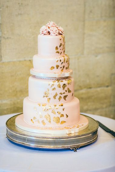 Pink Iced Wedding Cake | St Donat's Castle Wedding With Pink & Gold Colour Scheme | Images by Steve Gerrard Photography
