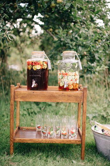 Drinks Dispensers   The Great Barn Rolverden   Joanne Truby Floral Design   M & J Photography   Dan Dolan Films