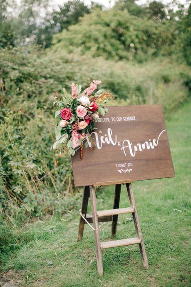 DIY Wooden Welcome Sign & Flowers   The Great Barn Rolverden   Joanne Truby Floral Design   M & J Photography   Dan Dolan Films