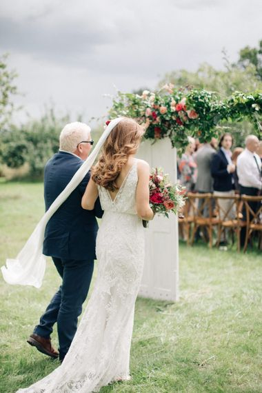 Outdoor Wedding Ceremony at The Great Barn, Rolvenden   Bride in Limor Rose Norma Gown   M & J Photography   Dan Dolan Films