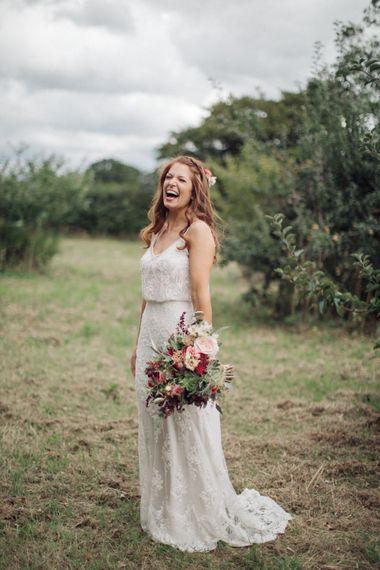 Bride in Limor Rose Norma Gown   The Great Barn, Rolvenden Wedding   M & J Photography   Dan Dolan Films