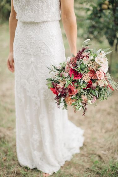 Red Wedding Bouquet by Joanne Truby Floral Design   M & J Photography   Dan Dolan Films   Limor Rose Norma Gown   Groom in A Suit That Fits   M & J Photography   Dan Dolan Films