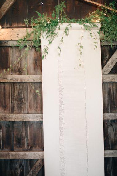 Elegant Table Plan   The Great Barn, Rolvenden Wedding   M & J Photography   Dan Dolan Films