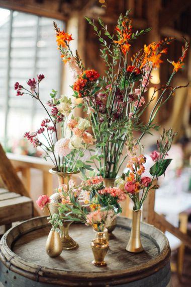 Flower Stems in Vases by Joanne Truby Floral Design   The Great Barn, Rolvenden Wedding   M & J Photography   Dan Dolan Films