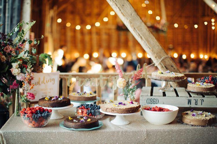 Cake Table   The Great Barn, Rolvenden Wedding   M & J Photography   Dan Dolan Films