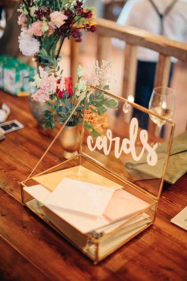 Glass Card Box   The Great Barn, Rolvenden Wedding   M & J Photography   Dan Dolan Films