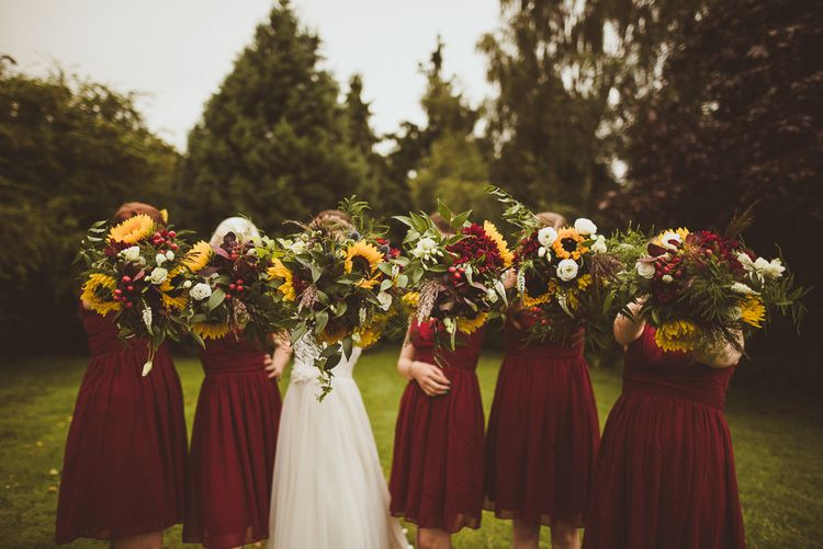 Red Bridesmaids Dresses Sunflower Bouquets