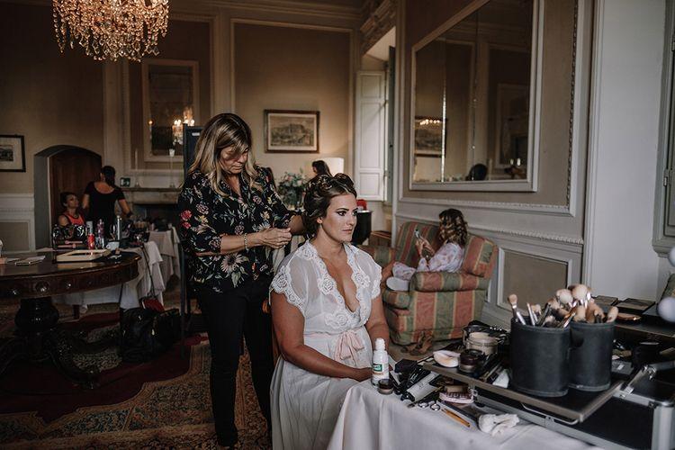 Bridal Preparations   Super Luxe Blush, White & Greenery Destination Wedding at Villa Pitiana, Tuscany, Italy   Jason Mark Harris Photography   Angelo La Torre Film