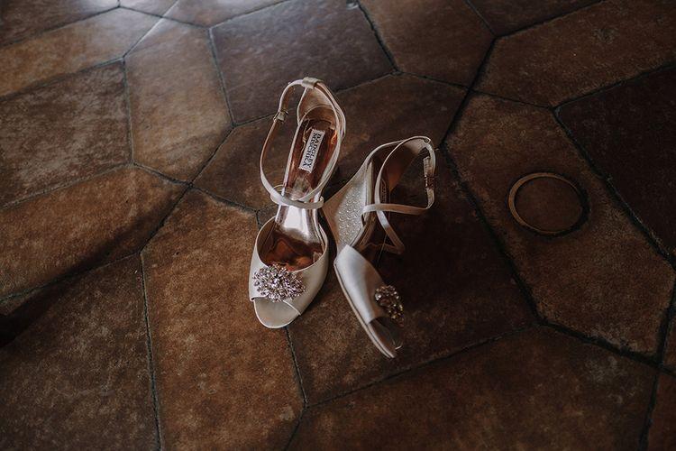 Badgley Mischka Bridal Shoes   Super Luxe Blush, White & Greenery Destination Wedding at Villa Pitiana, Tuscany, Italy   Jason Mark Harris Photography   Angelo La Torre Film