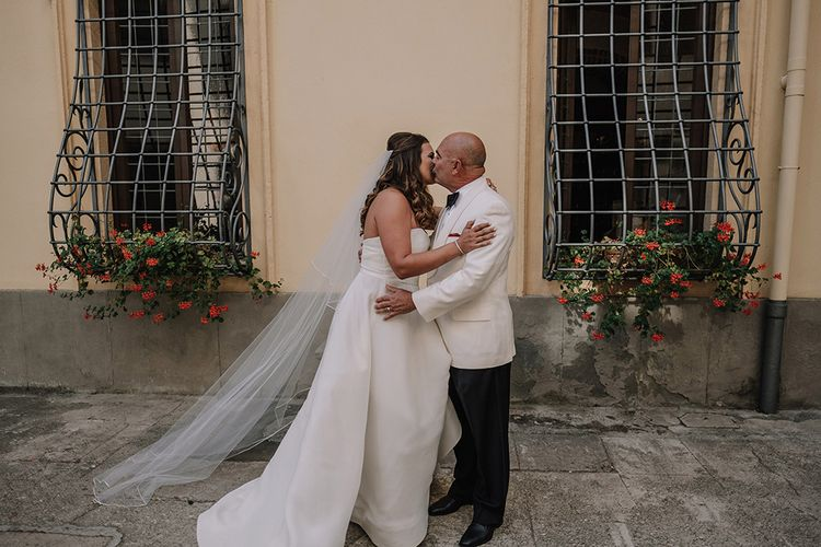 Father of the Bride First Look   Bride in Monique Lhuillier Gown   Super Luxe Blush, White & Greenery Destination Wedding at Villa Pitiana, Tuscany, Italy   Jason Mark Harris Photography   Angelo La Torre Film