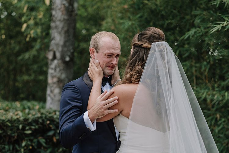 First Look   Bride in Monique Lhuillier Gown   Groom in Tuxedo   Super Luxe Blush, White & Greenery Destination Wedding at Villa Pitiana, Tuscany, Italy   Jason Mark Harris Photography   Angelo La Torre Film