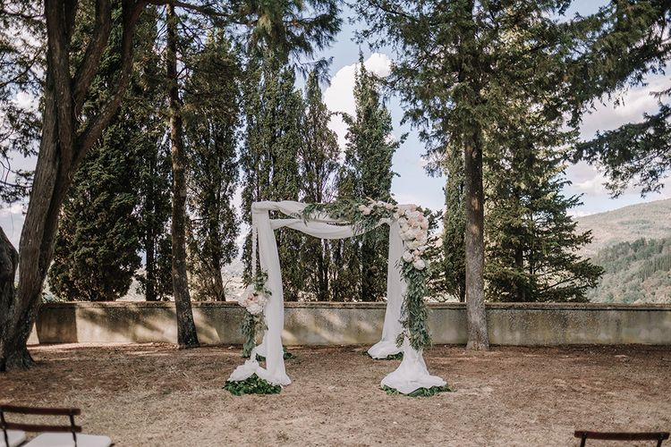 Drapes & Floral Altar   Super Luxe Blush, White & Greenery Destination Wedding at Villa Pitiana, Tuscany, Italy   Jason Mark Harris Photography   Angelo La Torre Film