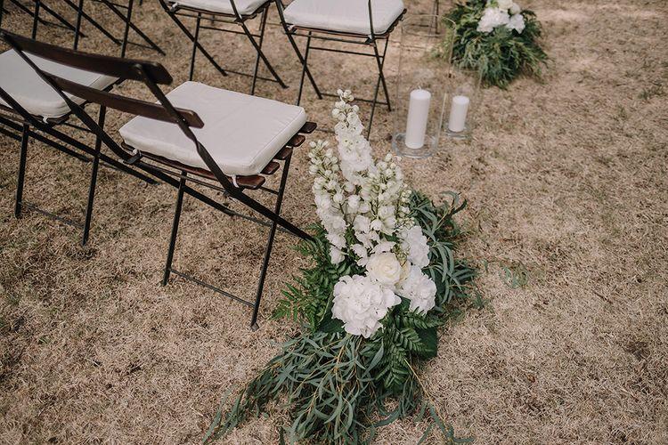White Aisle Wedding Flowers   Super Luxe Blush, White & Greenery Destination Wedding at Villa Pitiana, Tuscany, Italy   Jason Mark Harris Photography   Angelo La Torre Film