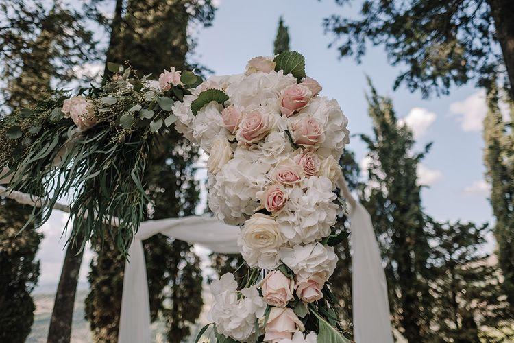 White & Blush Floral Arch Flowers   Super Luxe Blush, White & Greenery Destination Wedding at Villa Pitiana, Tuscany, Italy   Jason Mark Harris Photography   Angelo La Torre Film