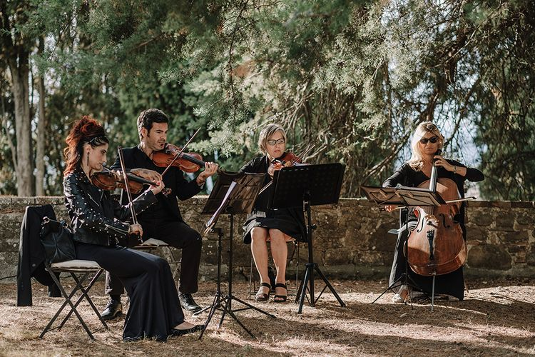 String Quartet   Super Luxe Blush, White & Greenery Destination Wedding at Villa Pitiana, Tuscany, Italy   Jason Mark Harris Photography   Angelo La Torre Film