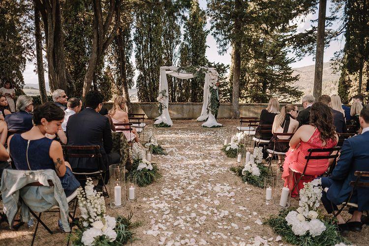 Aisle & Altar Style   Flower Petals   Drapped Altar   Super Luxe Blush, White & Greenery Destination Wedding at Villa Pitiana, Tuscany, Italy   Jason Mark Harris Photography   Angelo La Torre Film