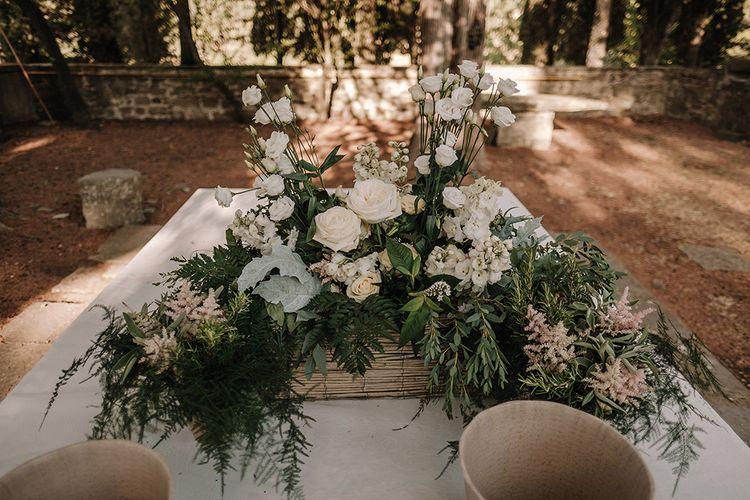 White, Greenery & Blush Floral Arrangement   Super Luxe Blush, White & Greenery Destination Wedding at Villa Pitiana, Tuscany, Italy   Jason Mark Harris Photography   Angelo La Torre Film