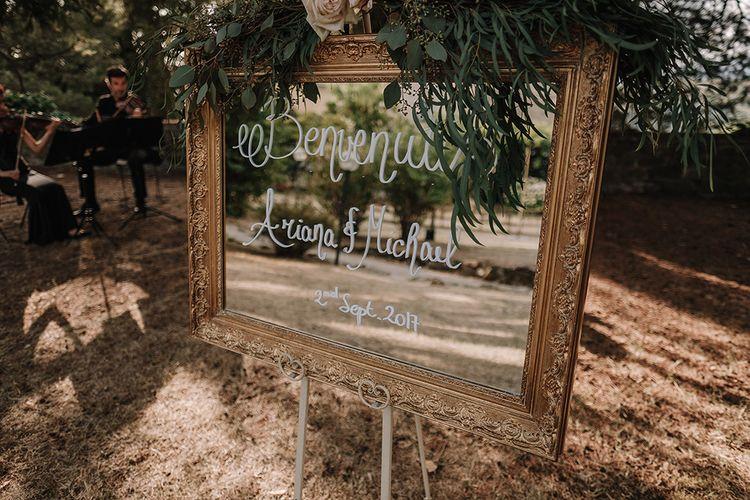 Mirror Wedding Sign   Super Luxe Blush, White & Greenery Destination Wedding at Villa Pitiana, Tuscany, Italy   Jason Mark Harris Photography   Angelo La Torre Film