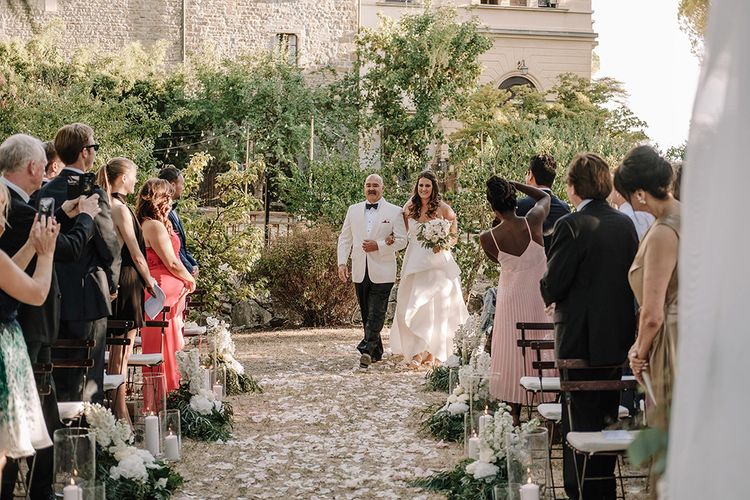 Wedding Ceremony   Bridal Entrance in Monique Lhuillier Gown   Super Luxe Blush, White & Greenery Destination Wedding at Villa Pitiana, Tuscany, Italy   Jason Mark Harris Photography   Angelo La Torre Film