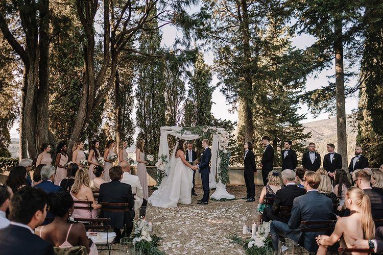 Wedding Ceremony   Altar   Wedding Party   Super Luxe Blush, White & Greenery Destination Wedding at Villa Pitiana, Tuscany, Italy   Jason Mark Harris Photography   Angelo La Torre Film