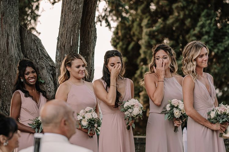 Emotional Bridesmaids in Pink Monique Lhulillier Gown   Super Luxe Blush, White & Greenery Destination Wedding at Villa Pitiana, Tuscany, Italy   Jason Mark Harris Photography   Angelo La Torre Film
