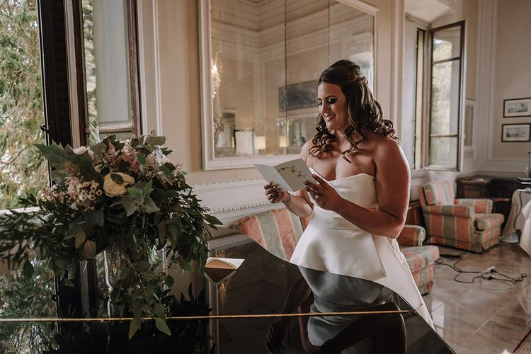 Bride in Monique Lhuillier Gown   Super Luxe Blush, White & Greenery Destination Wedding at Villa Pitiana, Tuscany, Italy   Jason Mark Harris Photography   Angelo La Torre Film