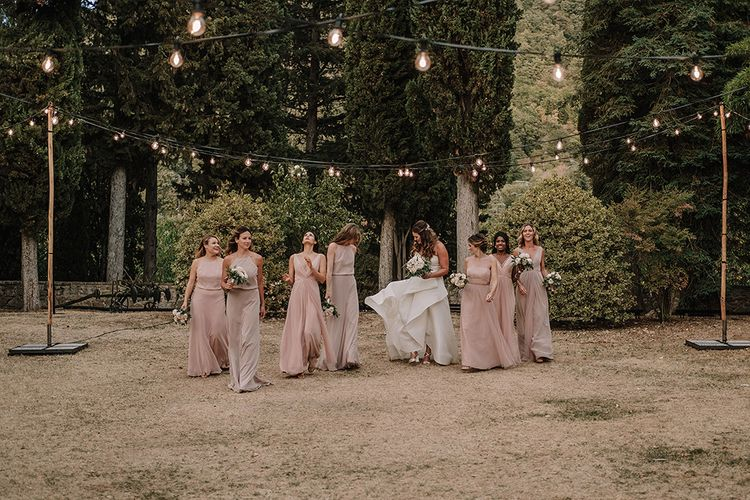 Bride & Bridesmaids in Monique Lhuillier Gowns   Super Luxe Blush, White & Greenery Destination Wedding at Villa Pitiana, Tuscany, Italy   Jason Mark Harris Photography   Angelo La Torre Film