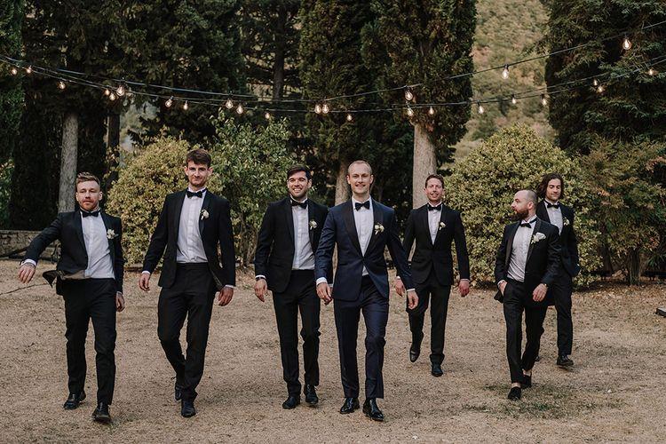 Groomsmen in Tuxedos   Super Luxe Blush, White & Greenery Destination Wedding at Villa Pitiana, Tuscany, Italy   Jason Mark Harris Photography   Angelo La Torre Film