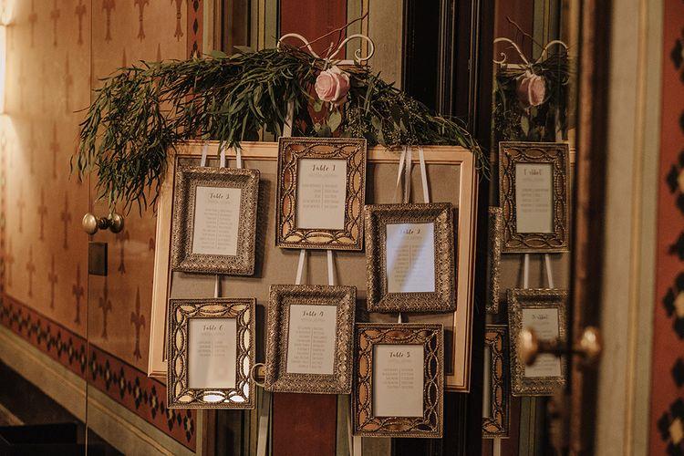Ornate Photo Frame Table Plan   Super Luxe Blush, White & Greenery Destination Wedding at Villa Pitiana, Tuscany, Italy   Jason Mark Harris Photography   Angelo La Torre Film