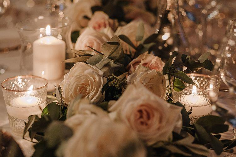 Blush Pink Wedding Flowers Table Decor   Super Luxe Blush, White & Greenery Destination Wedding at Villa Pitiana, Tuscany, Italy   Jason Mark Harris Photography   Angelo La Torre Film