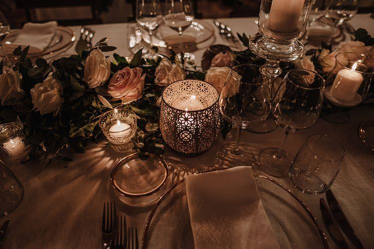 Elegant Centrepiece   Super Luxe Blush, White & Greenery Destination Wedding at Villa Pitiana, Tuscany, Italy   Jason Mark Harris Photography   Angelo La Torre Film
