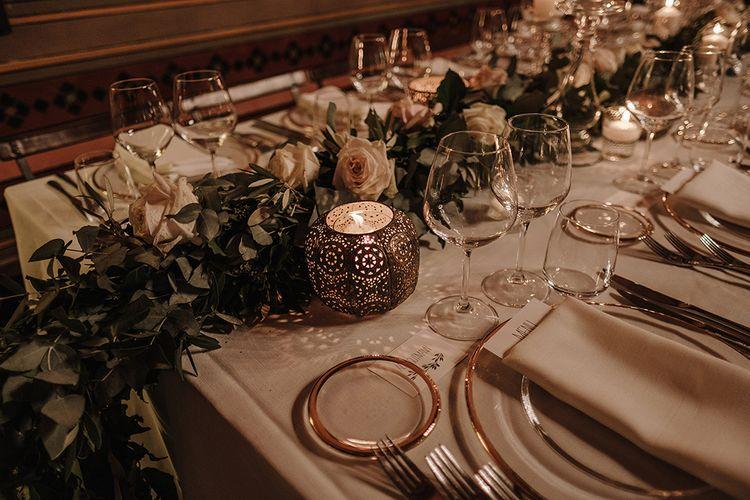 Wedding Table Decor   Super Luxe Blush, White & Greenery Destination Wedding at Villa Pitiana, Tuscany, Italy   Jason Mark Harris Photography   Angelo La Torre Film