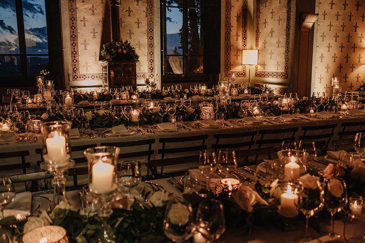 Candle Light Wedding Reception   Super Luxe Blush, White & Greenery Destination Wedding at Villa Pitiana, Tuscany, Italy   Jason Mark Harris Photography   Angelo La Torre Film