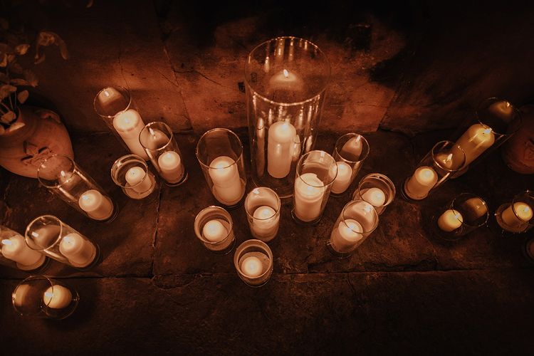 Candle Light Wedding Decor   Super Luxe Blush, White & Greenery Destination Wedding at Villa Pitiana, Tuscany, Italy   Jason Mark Harris Photography   Angelo La Torre Film