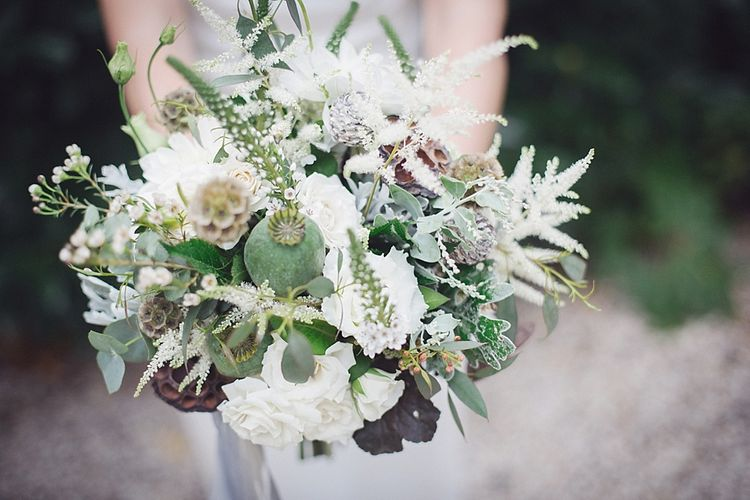 White & Greenery Wedding Bouquet